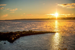 Восход солнца утра над Lake Huron Стоковое Фото