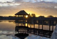 Восход солнца через газебо Стоковые Фото