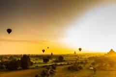 Восход солнца Bagan Бирмы Стоковое Изображение RF