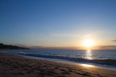 Восход солнца, Jandia Playa, Фуэртевентура Стоковые Изображения
