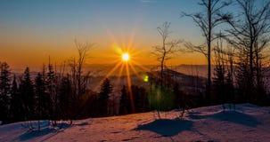 Восход солнца Timelapse 4k зимы видеоматериал