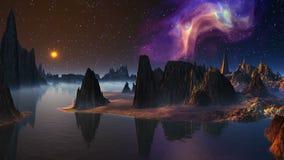 Восход луны и межзвёздное облако акции видеоматериалы