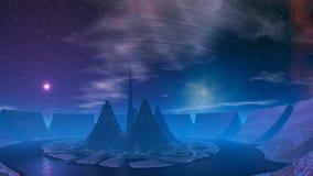 Восход луны (UFO) над основанием чужеземцев иллюстрация вектора