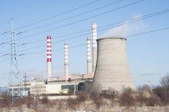 восходящий поток теплого воздуха электростанции индустрии экологичности Стоковое Изображение RF