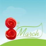 восьмая из карточки в марте Стоковое Изображение RF