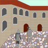 Воюя рыцари около старого casle Бесплатная Иллюстрация