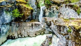 Вода бирюзы реки Lillooet каскадируя вниз с Nairn падает Стоковые Изображения RF