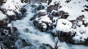 Вода в замороженном потоке Река Snowy в лесе в зиме выдержка длиной сток-видео