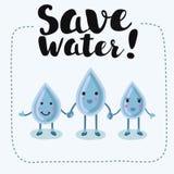Вода влюбленности девушки мальчика шаржа, сохраняет воду, сохраняет мир Стоковое фото RF