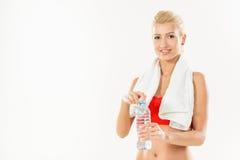 вода девушки пригодности бутылки Стоковые Фото