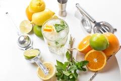 вода лета льда питья цитруса carafe померанцовая Традиционный лимонад с мятой и льдом лимона на белой таблице Взгляд сверху с мяг Стоковые Изображения