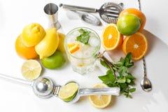 вода лета льда питья цитруса carafe померанцовая Традиционный лимонад с мятой и льдом лимона на белой таблице Взгляд сверху с мяг Стоковое фото RF