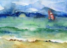 Вода и ветрило Стоковые Изображения