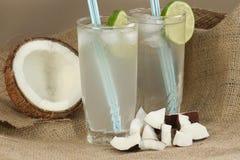 Вода кокоса с льдом и известкой Стоковые Изображения