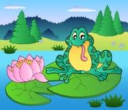 вода милой лилии лягушки сидя Стоковое Изображение
