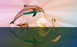 Вода наша ЖИЗНЬ - предпосылка 4 животных воды Стоковая Фотография RF
