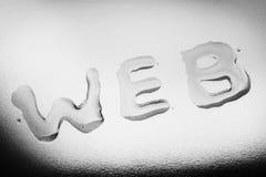 Вода на стеклянной пластинке, слове сети Стоковое Фото