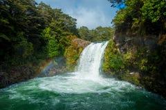 Вода от вулкана Mt Ruapehu формирует падения Tawhai в национальный парк Tongariro, Новую Зеландию Стоковые Фото