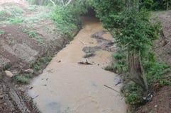 Вода пропуская от леса в сезоне дождей принимая грязь и грязь для того чтобы окапывать вероятно делают flooding стоковые изображения