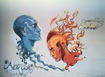 Вода против огня & x28; 2 faces& x29; Стоковое Изображение