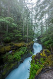 Вода спешит через высекаенный камень заводи лавины Стоковые Фотографии RF