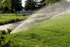 Вода спринклера распыляя над зеленой травой Стоковые Фотографии RF