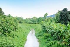 Вода Chanel к полю обрабатываемой земли для аграрной Стоковая Фотография RF