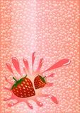 Вода Strawberrys сверкная Стоковая Фотография