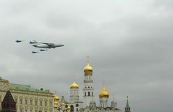 Во время репетиции военного парада в Москве 6-ое мая 2010 Стоковое Изображение RF
