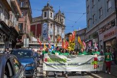 Во время торжества праздника Первого Мая в центре города Стоковые Фото