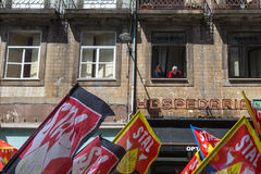 Во время торжества праздника Первого Мая в центре города Стоковое Изображение RF