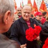 Во время торжества праздника Первого Мая в центре Москвы Стоковое Изображение