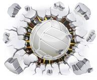 Волейбол и старое повреждение стены гипсолита. иллюстрация штока