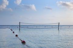 волейбол песка ладоней пляжа сетчатый Стоковое Изображение RF