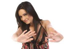 во избежание детеныши женщины жеста стоковое фото rf