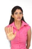 во избежание женщина индейца выражения стоковые изображения rf