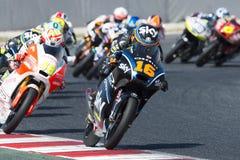 Водитель АНДРЕА MIGNO Гоночная команда неба Moto3 Энергия Grand Prix изверга Каталонии Стоковая Фотография