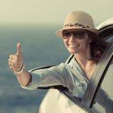 Водитель женщины в автомобиле Стоковые Изображения RF