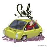 Водитель дизайна иллюстрации вектора с автомобилем Иллюстрация штока