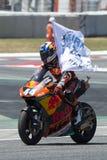 Водитель Мигель Oliveira Красная команда Bull Moto2 Энергия Grand Prix изверга Каталонии Стоковое фото RF