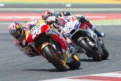 Водитель Dani Pedrosa КОМАНДА REPSOL HONDA Энергия Grand Prix изверга Каталонии Стоковая Фотография