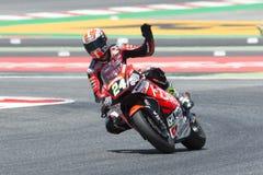 Водитель SIMONE CORSI СКОРОСТЬ ВВЕРХ ПО команде Moto2 Энергия Grand Prix изверга Каталонии Стоковое Изображение