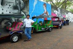 Водитель Tuktuk в Бангкоке, Таиланде Стоковое Изображение