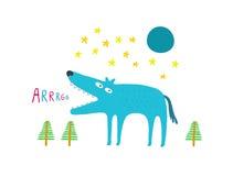Волк в лесе на ноче Стоковое фото RF