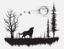Волк завывая на луне бесплатная иллюстрация