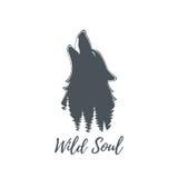 Волк завывая Шаблон логотипа Стоковое фото RF