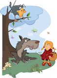 Волк и шарж маленького красного клобука катания Стоковые Изображения