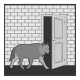 Волк на двери Стоковые Изображения