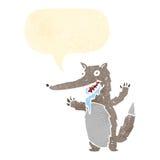 волк ретро шаржа голодный Стоковые Фотографии RF