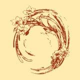 Волна круга чертежа руки винтажная с bac картины цветков флористическим Стоковые Фото